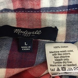 Madewell Tops - Madewell Ex-Boyfriend shirt red white & blue Sz L